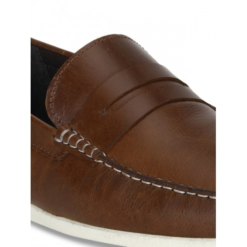 Red Tape Brown Leather Men's Loafers