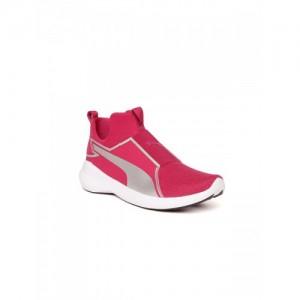 Puma Girls Pink Rebel Mid Gleam Slip-On Sneakers