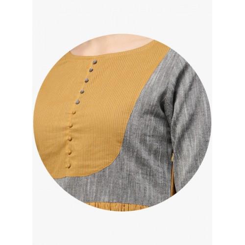Jaipur Kurti Mustard Yellow Coloured Printed Maxi Dress