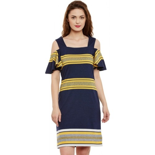 Miss Chase Blue Cotton Striped Party Wear Dress