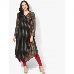 Sangria Angrakha High & Low Anarkali With Dori Tassels And Full Sleeves