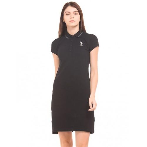 27c9f74e7d Buy U.S. Polo Assn. Women Solid Polo Collar T-Shirt Dress online ...