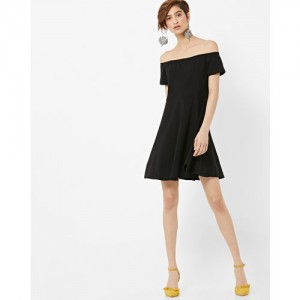 FabAlley Women Black Solid Bardot Fit & Flare Dress