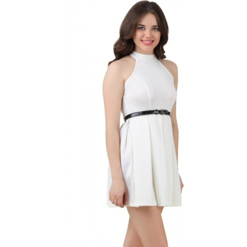 Texco White Polyester Solid Women's Shift Dress