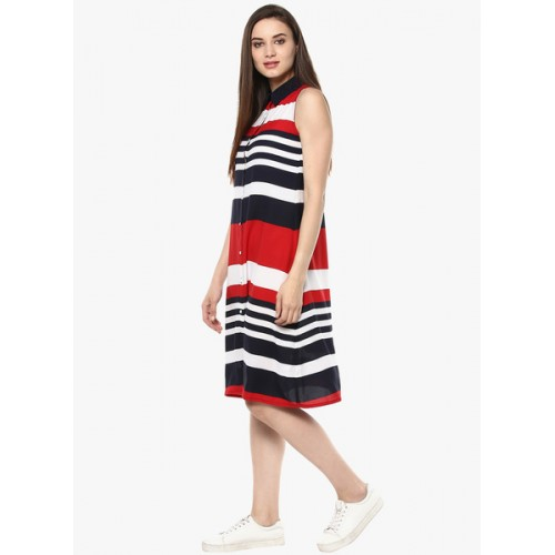 StyleStone Multi Color Cotton Slim Fit Striped Shirt Dress