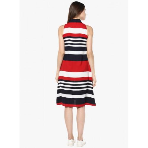 StyleStone Multi Color Cotton Slim Fit Striped Shirt Dress