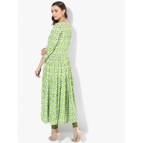 Sangria Henley Neck Printed Tiered Anarkali With Roll Up Sleeves Detail