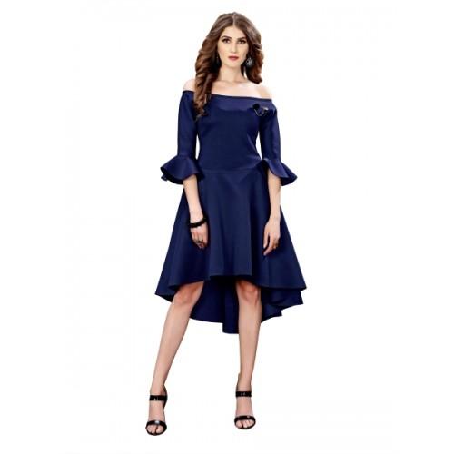 Elevate Woemn Navy Blue Off Shoulder High Low Scuba Dress