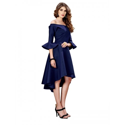 Elevate Woemn Navy Blue Off Shoulder High Low Scuba Dress