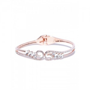 Jewels Galaxy 18K Rose Gold-Plated Handcrafted CZ Stone-Studded Bangle-Style Bracelet