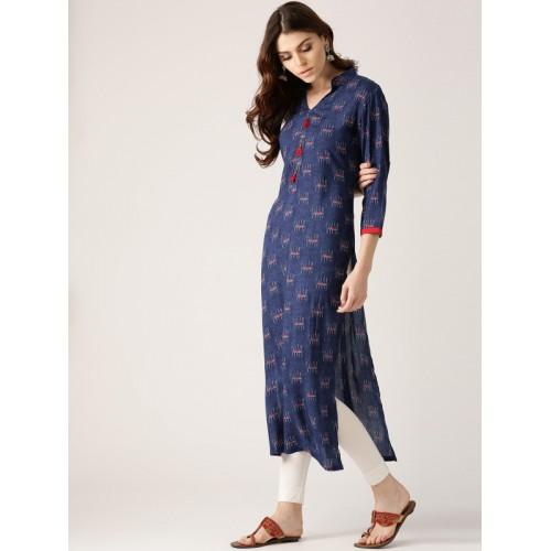 Libas Women Blue Printed Straight Kurta