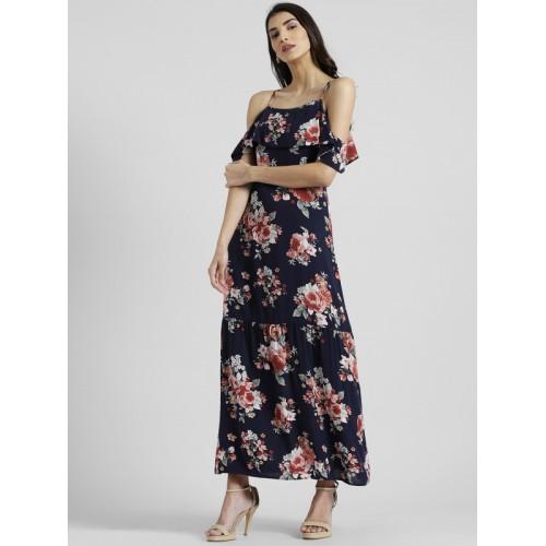 ab34aea172 Buy Zink London Navy Blue Printed Maxi Dress online
