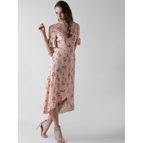 a104197b9198 Buy FOREVER 21 Women Pink Floral Print Wrap Dress online