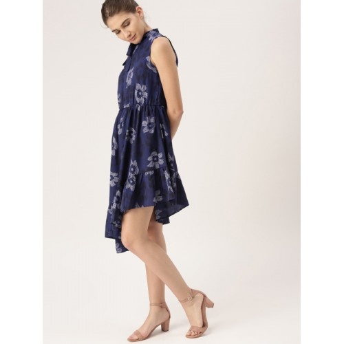 DressBerry Blue Polyester Printed Dress