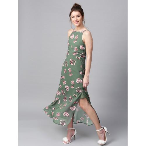 SASSAFRAS Women Green Floral Print Maxi Dress