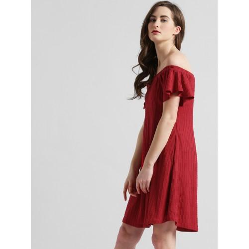17d500f9a75 Buy Zink London Women Red Self Design A-Line Dress online