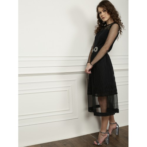 all about you Women Black Lace Fit & Flare Dress