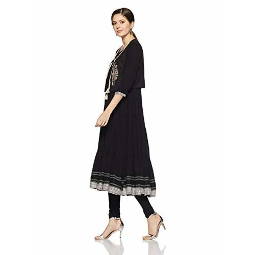Rangriti Women's A-Line Kurta (RMMACROMATI1409_Black_34)