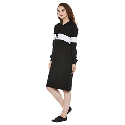Miss Chase Super Comfortable Round Neck Full Sleeves Cotton Solid Hooded Knee-Long Dress