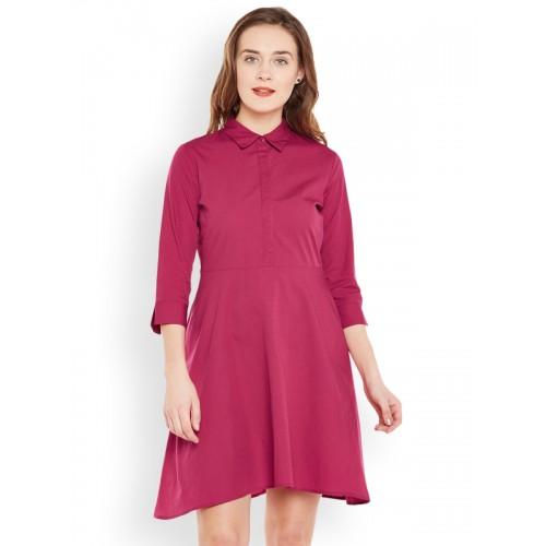 Buy FEMELLA Pink Cotton Solid Skater Mini Dress online  d7d1ee9fd