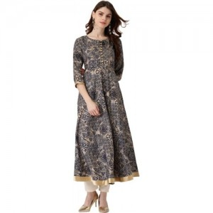 Libas Women Navy Blue & Beige Printed Anarkali Kurta