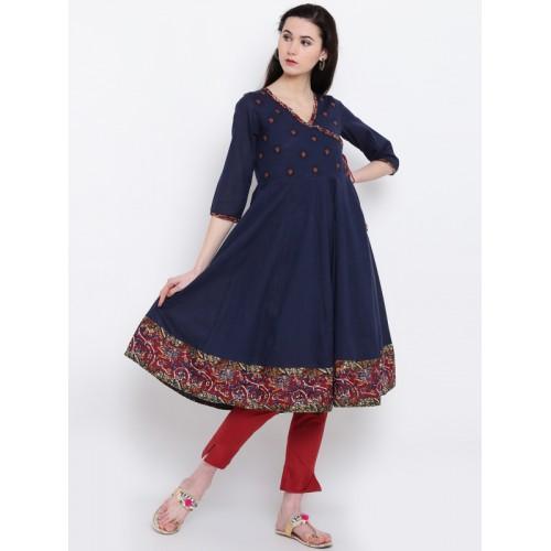 1abb7b389cf Buy Rangriti Women Navy Blue Angrakha Anarkali Kurta online ...