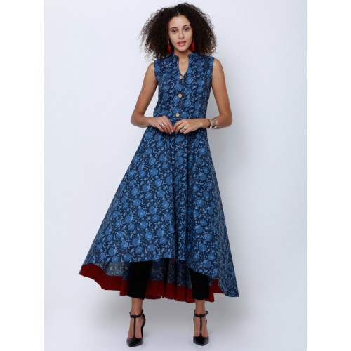 3985daf697f Buy Vishudh Women Navy Blue Printed Anarkali Kurta online