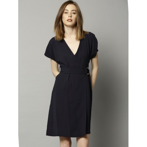 Buy Marks Spencer Women Navy Solid Wrap Dress Online Looksgud In
