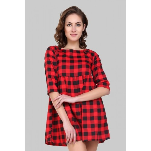 Crease & Clips Women's Gathered Red Dress