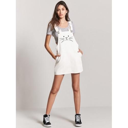 87c733bffc8 Buy FOREVER 21 Women Off-White Denim Pinafore Dress online