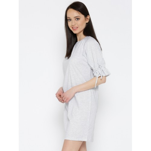 Miss Chase Grey Solid Shift Dress