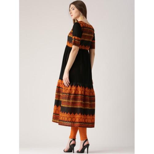 Libas Women Black & Orange Printed Anarkali Kurta