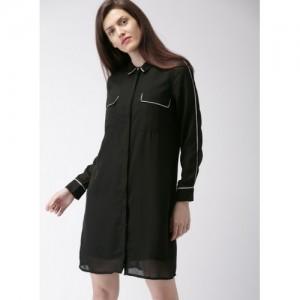 Mast & Harbour Black Solid Shift Dress