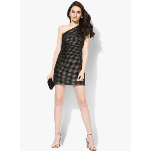 Kazo Black Embroidered Bodycon Dress