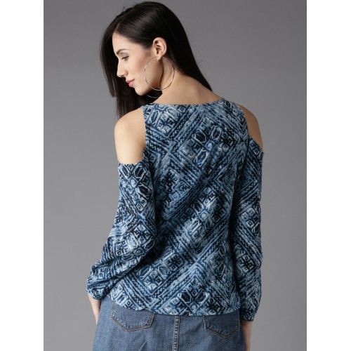 HERE&NOW Women Blue Printed Cold-Shoulder Top