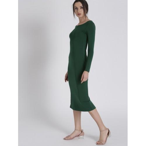 Chemistry Women Green Solid Sheath Dress