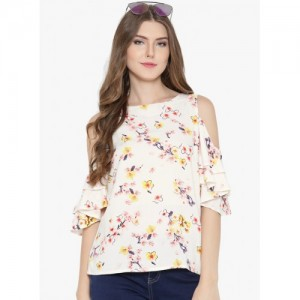 Sera Off-White Polyester Floral Printed Top