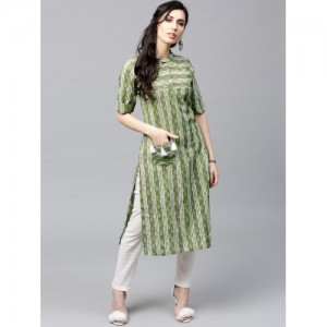 AKS Green Printed Straight Pocket Style Kurta