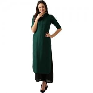 Libas Women Green Viscose RAyon Solid Straight Kurta