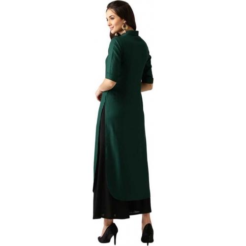 Libas Dark Green Rayon Solid Pathani Kurta