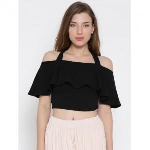 Veni Vidi Vici Black Cotton Solid Slim Fit Crop Top