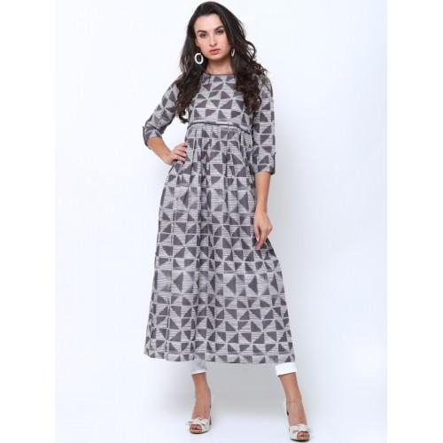63f34491928 Buy Vishudh Women Grey Printed Anarkali Kurta online