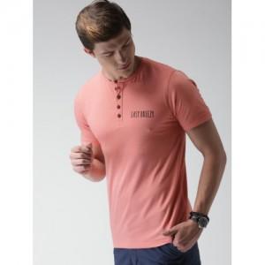Mast & Harbour Peach Henley Neck T-shirt