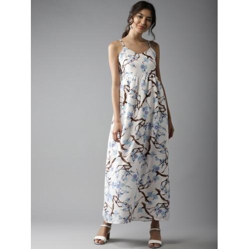 Moda Rapido Women White Printed Maxi Dress