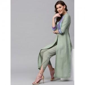 SASSAFRAS Women Olive Green Yoke Design Straight Kurta