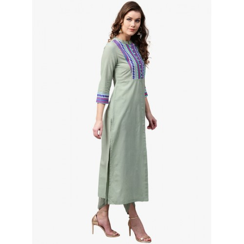 SASSAFRAS Women Olive Green Yoke Design Straight Kurta