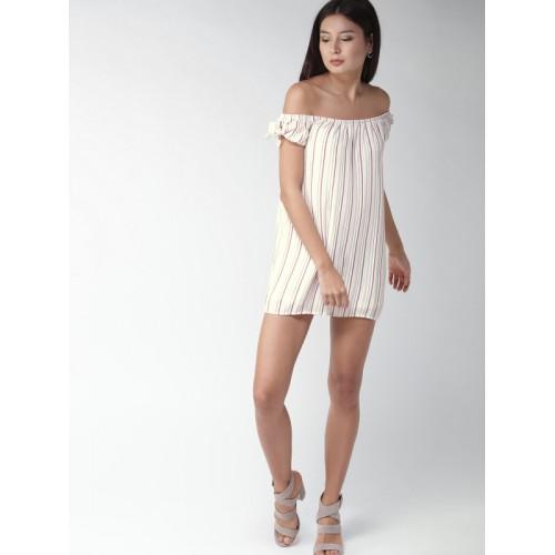 ab83755bb9b3 FOREVER 21 Women White   Burgundy Striped Off-Shoulder A-Line Dress ...