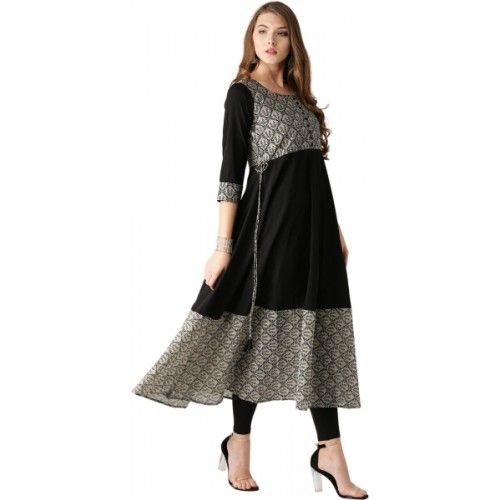 Libas Black Cotton Solid Anarkali Kurta