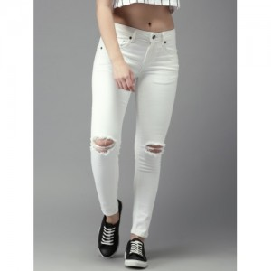 Moda Rapido Women White Skinny Mid-Rise Mildly Distressed Stretchable Ankle Length Jeans