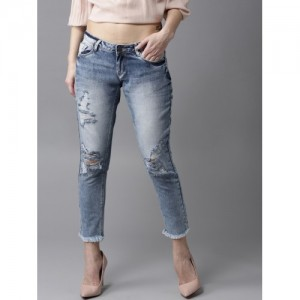 HERE&NOW Women Blue Boyfriend Fit Mid-Rise Mildly Distressed Cropped Jeans